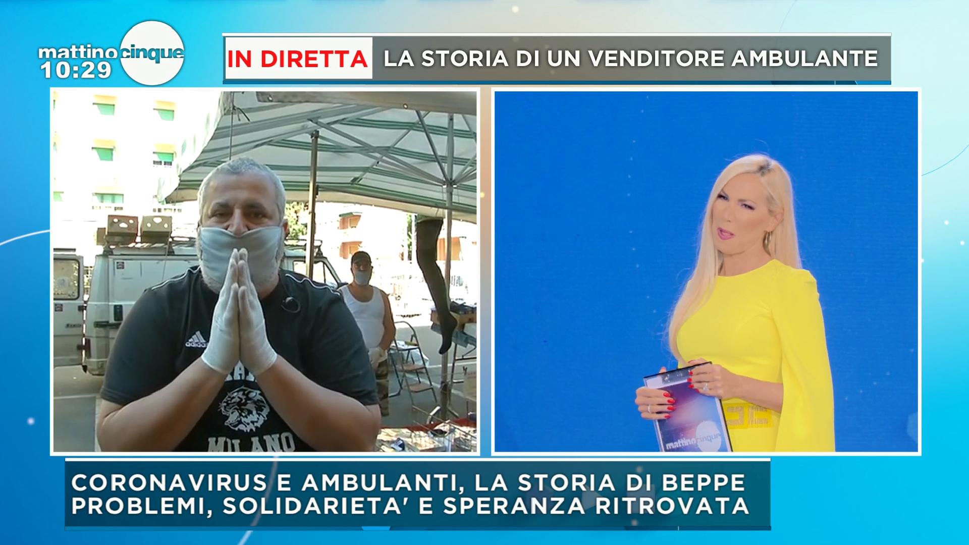 """""""Non ho più paura della fame adesso"""" lacrime sì, ma di gioia per un venditore ambulante di Milano che ha riaperto la sua bancarella"""